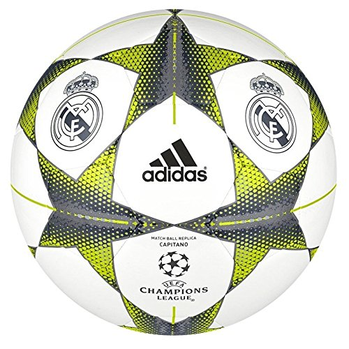 Adidas, pallone da calcio finale champions league 15, bianco (white/lead/bright orange), 5