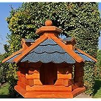DARLUX Vogelhaus von L bis XL Futterhaus Vogelhäuschen mit oder ohne Ständer in Braun mit Rot, Grün oder Blau