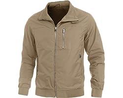 KEFITEVD Men's Zip Track Jacket Outdoor Windproof Coat Casual Lightweight Jacket Multi Pockets for Running Cycling