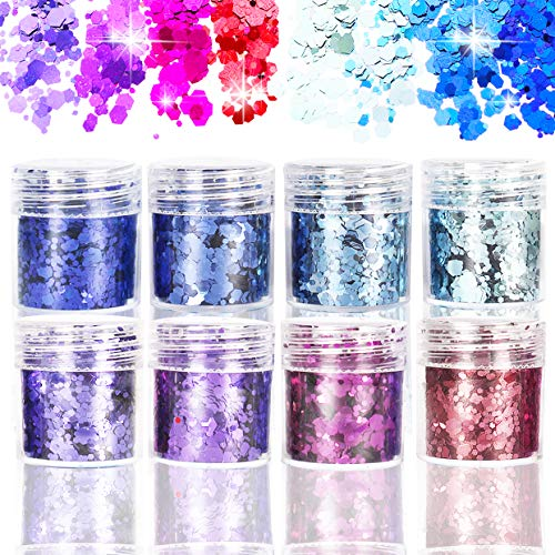 LEBENSWERT Glitzer Sequin Chunky Glitter für Gesicht Nägel Augen Lippen Haare Körper, DIY Make-Up Glitzer Paillette für Musik Festival Masquerade Halloween Party Weihnachten Ball (8er SET)