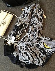 Corea del Sur se sienten Pashmina bufanda de algodón de patrón femenino en primavera y otoño y All-Match,negro marca gris