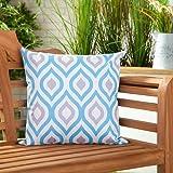Gefülltes Kissen Blau Grau Geometrisches Design Wasserdicht Für Draußen Gartenmöbel thumbnail