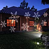 Christmas Projector Light, LESHP LED Flood Lights Indoor Outdoor Moving Star Snowflake Landscape Projector Lamp 12pcs Slides Switchable Patterns Gobo Lens Garden Patio House Decorations