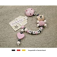 Baby SCHNULLERKETTE mit NAMEN   Schnullerhalter mit Wunschnamen - Mädchen Motiv Bär und Herz in rosa
