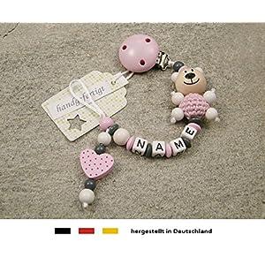 Baby SCHNULLERKETTE mit NAMEN – Schnullerhalter mit Wunschnamen – Mädchen Motiv Bär und Herz in rosa