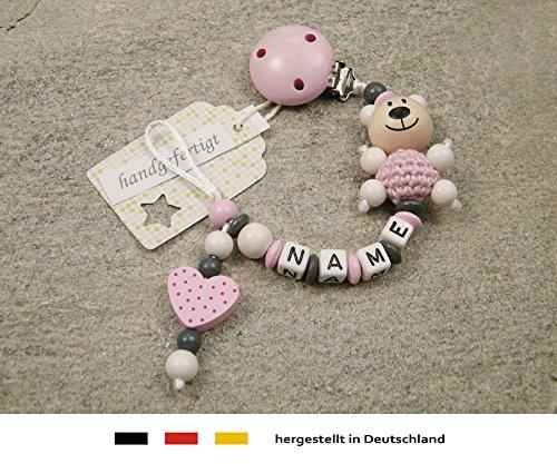 Baby SCHNULLERKETTE mit NAMEN | Schnullerhalter mit Wunschnamen - Mädchen Motiv Bär und Herz in rosa (Kleidung, Tag Baby, Vater)