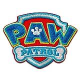 Aufnäher/Bügelbild - Paw Patrol Logo - blau - 4,7x6,4cm - © Spin Master Patch Aufbügler Applikationen zum aufbügeln Applikation Patches Flicken