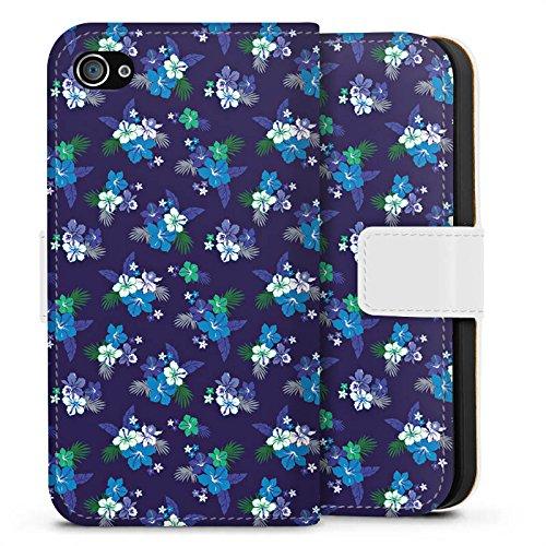 Apple iPhone X Silikon Hülle Case Schutzhülle Flower Blumen Muster Sideflip Tasche weiß