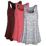 Mujer Camiseta Tirantes Verano Deporte de Gimnasio Camisa Blusa Casual Tops Suelta Camisetas Deporte Fitness Sujetador Deportivo para Mujeres (XL, Rojo+Rojo Oscuro+Gris)