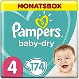 Pampers Baby-Dry Windeln, Gr. 4, 9-14kg, Monatsbox (1 x 174 Windeln), bis zu 12 Stunden Rundum-Auslaufschutz