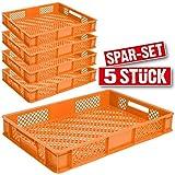 5x Eurobehälter durchbrochen, LxBxH 600 x 400 x 90 mm, Inhalt 15 Liter, orange