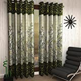 Home Sizzler 2 Piece Eyelet Polyester Door Curtain Set   7ft, Green