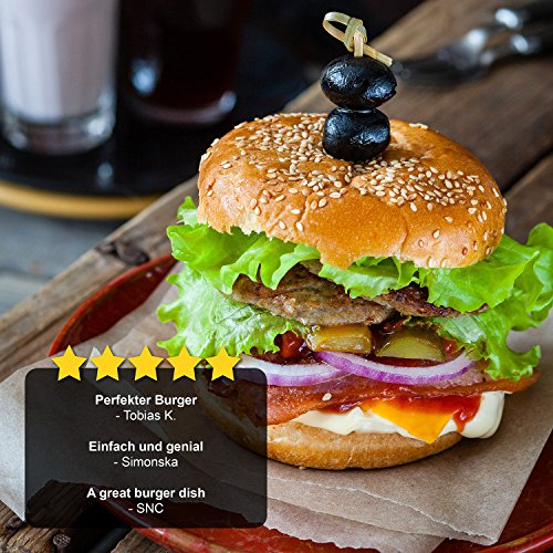61kPJS49AIL - GOURMEO® Burgerpresse aus Aluguss mit Antihaftbeschichtung + 30 Blatt Antihaftpapier | 2 Jahre Zufriedenheitsgarantie | Hamburgerpresse, Hamburger-Presse, Burger Maker