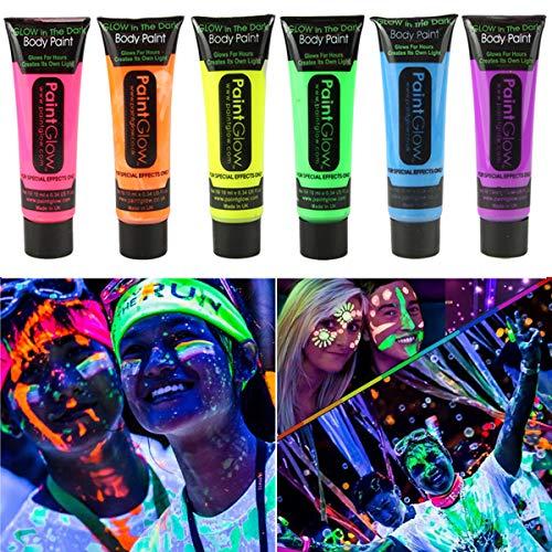 (GARYOB UV-Bodypaint Körpermalfarben Schwarzlicht für Body und Facepainting fluoreszierende knalligen Schminke Bodypainting Neon Farben Set von 6 Tubes)