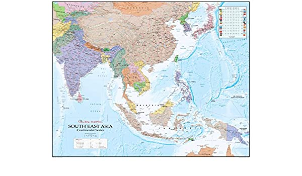Continental series south east asia paper wall map global continental series south east asia paper wall map global mapping xyz maps amazon office products sciox Image collections