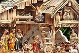 Premium-Krippenfiguren von BTV Oelbaum 13-14 cm KF13G-MDS mit Deko, 21 -tlg. SET, große hochwertige Ausführung und feine Mimik, Komplettset mit Schäfer, Hirte mit Schaf / Schafe und Ziegen, Ochs und Esel, NEU - handbemalt - für große Holz Weihnachtskrippe + Zubehör