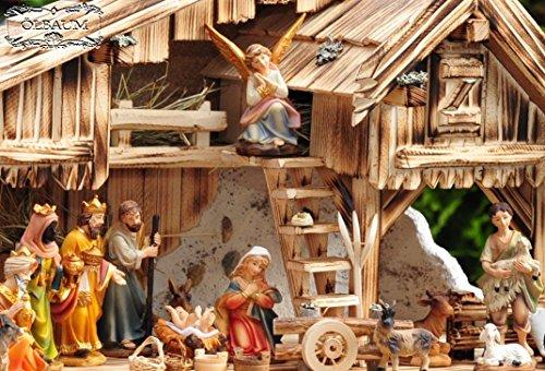 ÖLBAUM schöne Krippenfiguren KFG-MDS mit Deko, 21 - teiliges SET, große Ausführung und feine Mimik, Figuren max. 11-12 cm Komplettset mit Schäfer, Hirte mit Schaf / Schafe und Ziegen, Ochs und Esel, NEU - handbemalt - für große Holz Weihnachtskrippe + Zubehör, Design XXL Maria Josef Jesus Weihnachtsgeschichte aus Echtholz - Imitat in 5 cm 6 cm 7 cm 8 cm 9 cm 10 cm 11 cm 12 cm 13 cm 14 cm 15 cm 16 cm 17 cm 18 cm 19 cm 20 cm 30 cm 40 cm