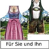 Lustige Trachtenschürze im Kombipack für Sie und Ihn (2er) - Küchenschürze - Kochschürze - Bayerische Schürze