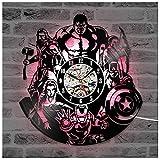 ZhangXF The Avengers Iron Man Vinyl Record Reloj de Pared, Luz LED de Noche Luminosa 12 Pulgadas Vinyl Record Clock Mejor Regalo Decoración