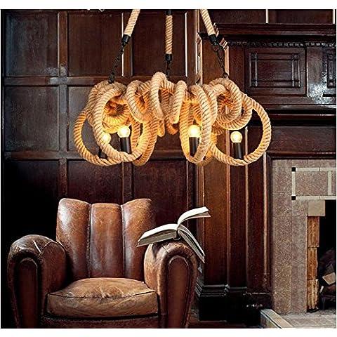 Modylee Creativo americano vita di campagna camera da letto ristorante corda lampadario caffè decorato retrò (Filigrana Pendente Di Montaggio)