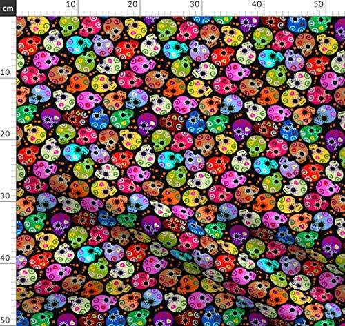 rn, Sugar Skulls, Calaveras, Totenkopf, Tag Stoffe - Individuell Bedruckt von Spoonflower - Design von Thirdhalfstudios Gedruckt auf Seidenimitat Crêpe de Chine ()