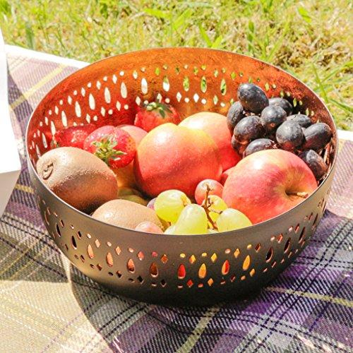Deko matt schwarz und kupfer Einlage Mosaik Bordüre Obstschale Laser geschnitten. Ideal für Obst, Nüsse, Gewürze, Aperitifs–H 10x D 20,5cm - Mosaik-gewürz