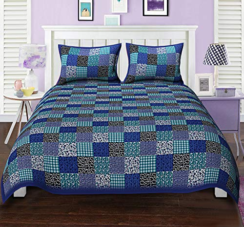 Fashion Dziner Cotton Striped Print Double size 1 Bed sheet with 2 pillow covers (Blue ,90 X 108 Inches,275 X 230 cm)