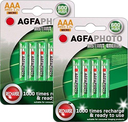 Agfa Lot de 8 Piles rechargeables AAA NiMH pour téléphone sans fil Amplicom, Audioline, Binatone, BT (Inc Diverse, Studio, graphite, etc.), Doro,, iDect, Magicbox, Panasonic, PHILIPS, Sagem, Sagemcom, Siemens