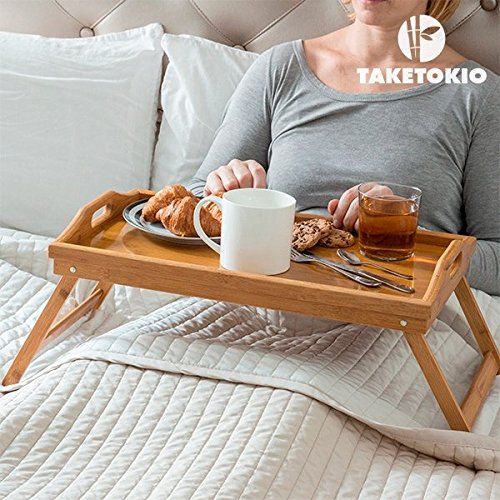 Plateau Bambou petit dej' au lit avec pieds pliants