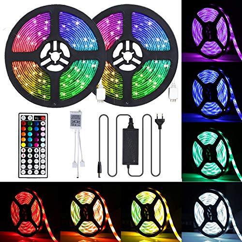 CGN LED Streifen, 10M RGB LED Strip, IP65 Wasserdicht 300 LEDs 5050SMD LED Lichterkette Bänder Hintergrundbeleuchtung mit Netzteil 44-Tasten Fernbedienung Kit für Innen außen Beleuchtung Deko