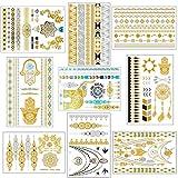 Natuce Tatuajes Temporales, 9 Hojas Impermeables Metálico Oro y Plata Flash Tatuaje Temporal Arte Corporal para Adultos Hombres Mujeres