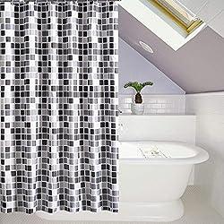 Cortina de Ducha Baño 200x220cm HuaForCity 100% Impermeable Resistente al Moho Lavable Durable Grande Poliéster Cortina de Baño No Olor Desagradable con Hebillas /Ganchos Patrón de Mosaico