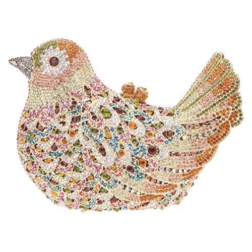 Bonjanvye Glitter Rhinestone Bird Clutch Purses Evening Clutch Bag for Girls Rose Gold yellow