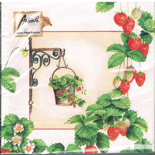 ambiente-serviettes-hanging-fruit-creme-fraises-oiseaux-fruits