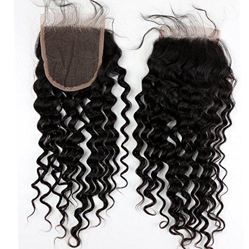 Eseewigs Brazilian Hair Closures profonde Curl 4x4 pouces Swiss Lace Human Fermeture Cheveux Fermeture cheveux