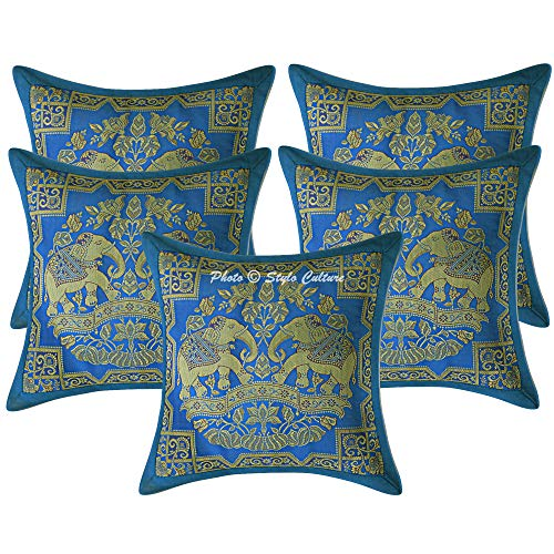 Stylo Culture Brocade Decorative Elephant Settee Couch Diwan Cushion Covers 12x12 Inch Set of 5 Pc Turquoise Gold Jacquard Banarsi Festive Decoration Floral for Diwali Square 30x30 cm