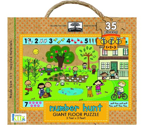 Green Start Giant Floor Puzzles: Number Hunt (35 Piece Floor Puzzles Made of 98% Recycled Materials)