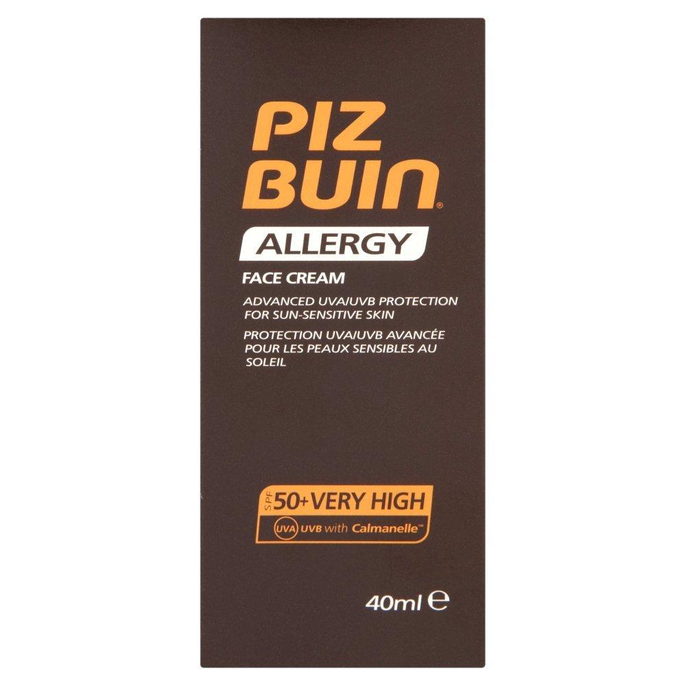 Piz Buin, Crema viso Allergy, con protezione solare SPF 50, per pelli sensibili, 40 ml