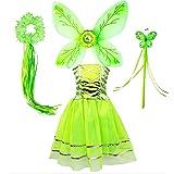 Tante Tina Disfraz de hada de mariposa para niña, 4 piezas, con vestido de tul, alas, varita mágica y diadema, adecuado para