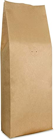 Kraft Paper Stand Up Coffee Bag/Side Gusset Pouch with Flat Bottom Coffee Beans Pouch with One Way Degassing Valve, 50 Pieces