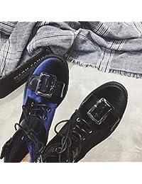 LGK&FA Señora de la Primavera Botines Botas de Cabeza Redonda, Fondo Plano con Cremallera Botas y cómodos Zapatos...