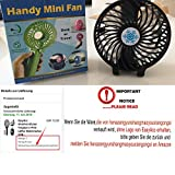EasyAcc Handheld Electric Fans Mini Portable Outdoor Fan with Rechargeable 2600 mAh Battery Foldable Handle Desktop for Home and Travel - Black