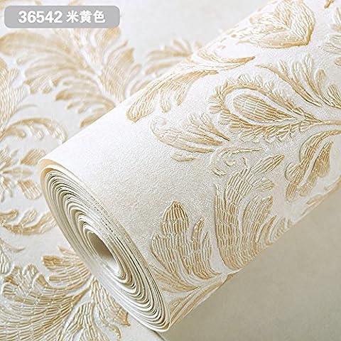 Dngy*Simple tela no tejida continental tapiz floral grande dormitorio Salón TV wall dengue wallpaper, beige 36542, sólo papel