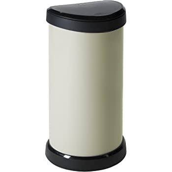 Curver 40 L Metal Effect Plastic One Touch Deco Bin, Ivory