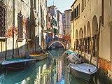 Artland Qualitätsbilder I Glasbilder Deko Glas Bilder 80 x 60 cm Städte Italien Venedig Foto Gelb C8UV Boote Kanal iHäusern Venedig Italien