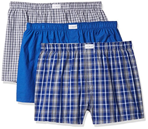 Tommy Hilfiger Men's Underwear 3 Pack Cotton Classics Woven Boxers (Blue Plaid), Blue Plaid/Solid Blue/Navy Plaid, XX-Large (Tommy Hilfiger Herren Plaid)