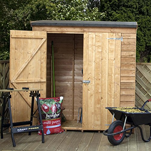 6x3 overlap wooden garden shed double doors pent roof for Garden shed 6x3