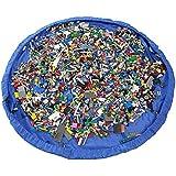 Los mejores niños juguetes de almacenamiento de la bolsa de juego Mat-Durable Organizador se abre a 60 pulgadas de área de juego circular-GRAN-REGALO (Azul)