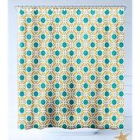 Haixia Baño Impermeable Ducha Cierto Teal Geométrico Patrón de Religiones Orientales Inspirado Diseño Simétrico Oriental Impresión