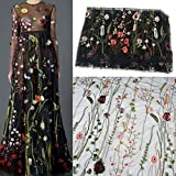 Flor Floral Bordado Malla para Boda Vestido Novia de Encaje Negro (135cm x 100cm)